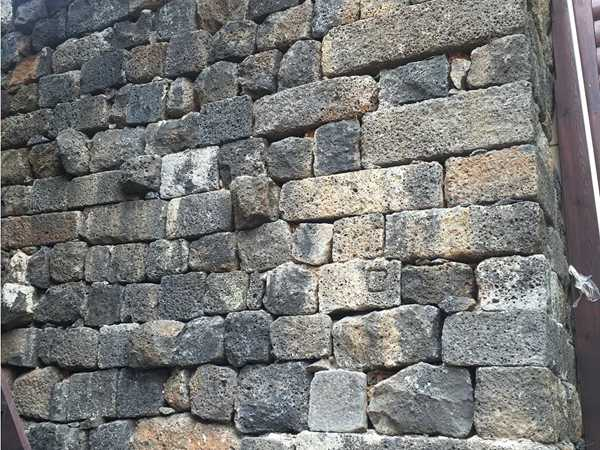 ancient lava stone wall