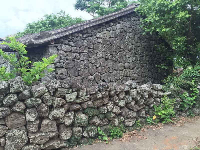 old lava stone wall